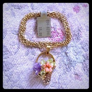 Basket of gemstone flowers vintage necklace